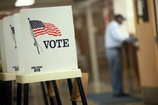 Voting booths at the Black Hawk County Courthouse Sept. 27, 2012, in Waterloo, IowaScott Olson/Getty Images