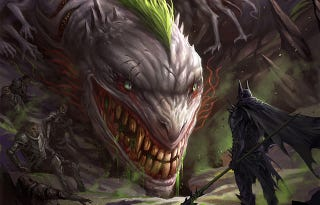 Illustration for article titled The Joker is all smiles as a nightmarish dragon facing the Dark Knight
