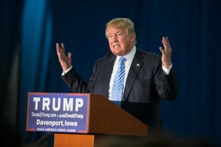 GOP presidential candidate Donald Trump speaking at a campaign event in Davenport, Iowa, Dec. 5, 2015Scott Olson/Getty Images