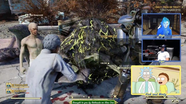 Ninja's Fallout 76 Stream With Rick, Morty, And Logic Did Not Go Well