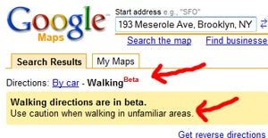 Google Maps Adds Walking Directions, Bad Neighborhood Caution on