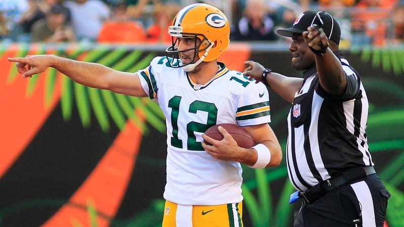 """Illustration for article titled Aaron Rodgers Says The Replacement Refs """"Have To Understand The Rules"""""""
