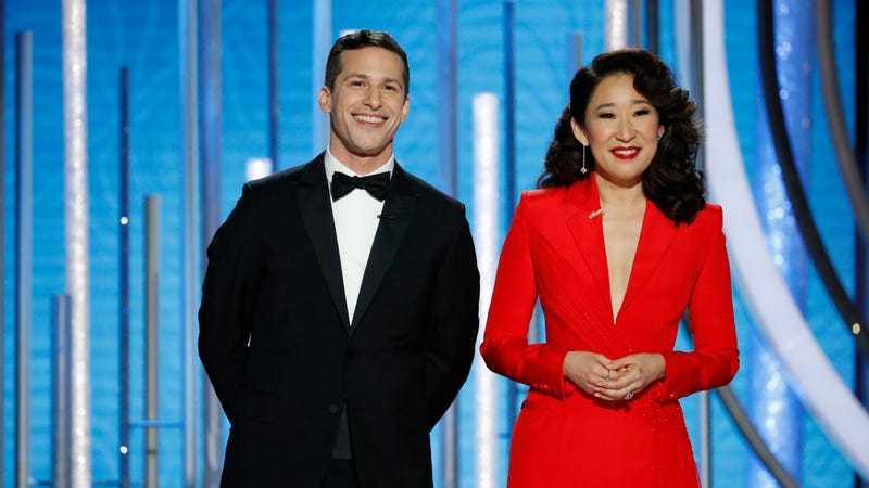 Illustration for article titled Andy Samberg and Sandra Oh roast the audience in playful Golden Globes monologue