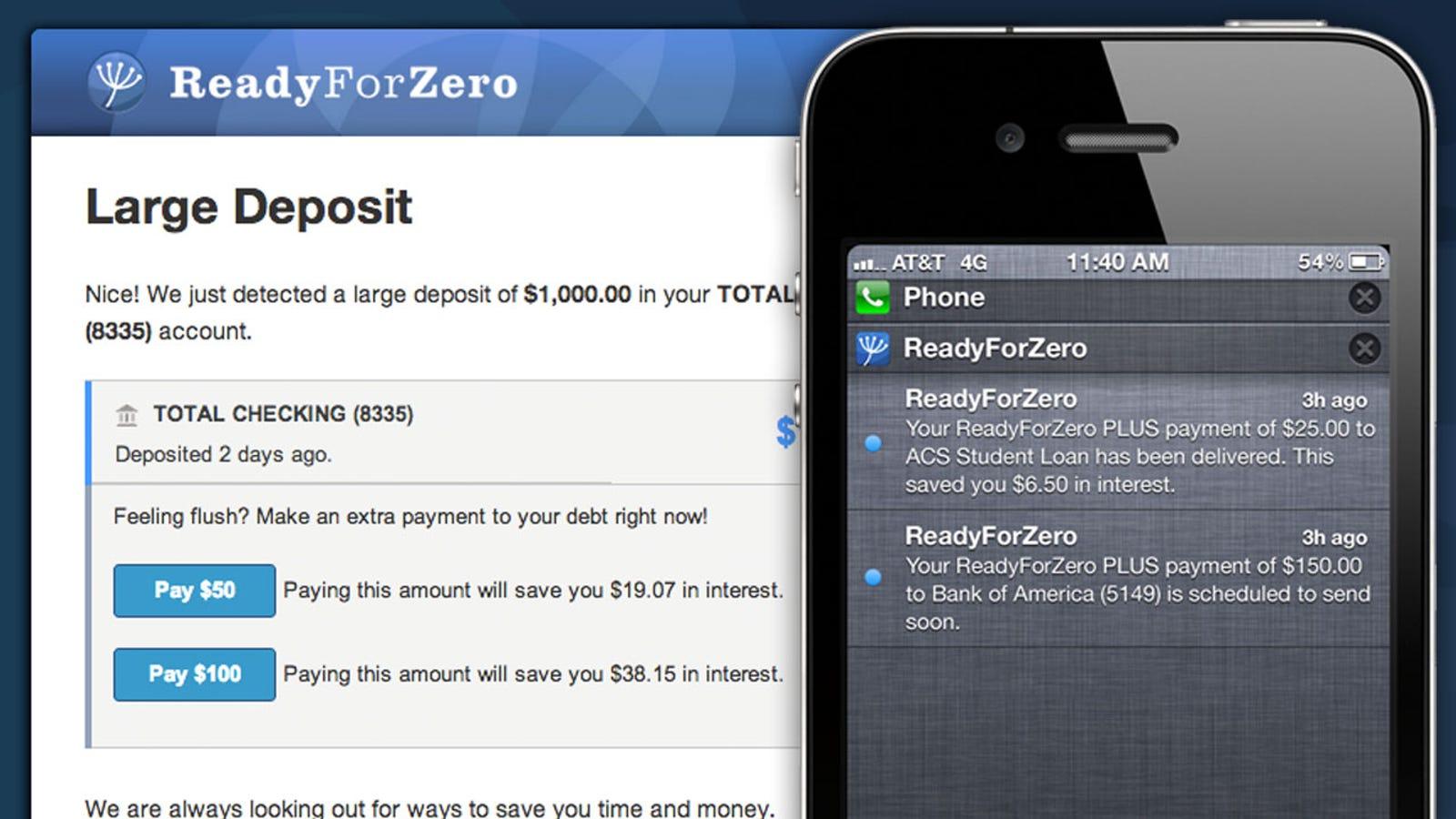 readyforzero calculates your optimal debt reduction plan