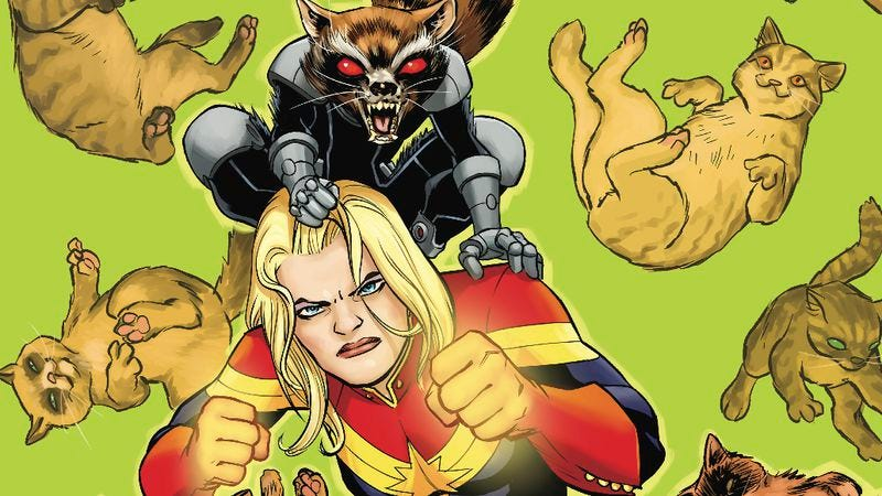 Illustration for article titled Exclusive Marvel preview: Rocket Raccoon visits Captain Marvel #8 to fight alien kittens