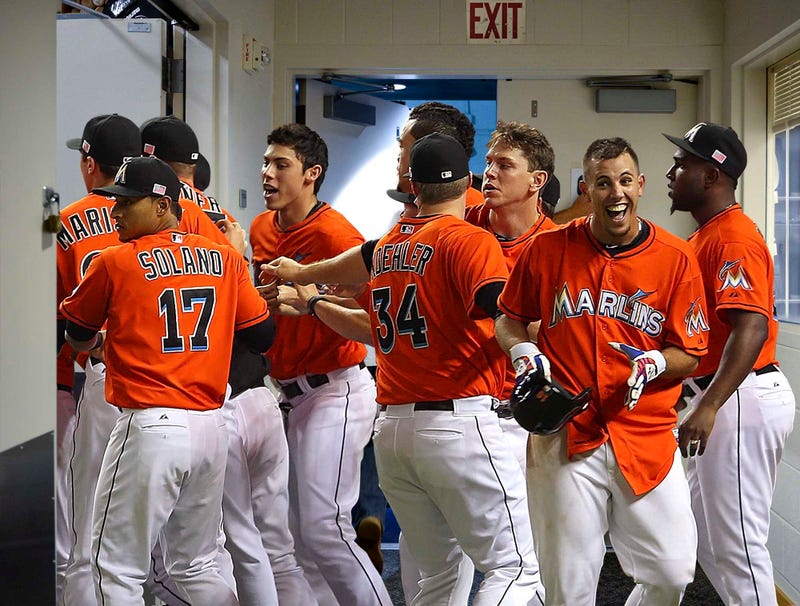 Illustration for article titled Marlins Players Enthusiastically Gather Around Stadium Exit After Walk-Off Home Run
