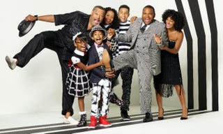 The cast of Black-ish, clockwise from top left:Laurence Fishburne, Yara Shahidi, Marcus Scribner, Anthony Anderson, Tracee Ellis Ross, Miles Brown and Marsai MartinBob D'Amico/ABC