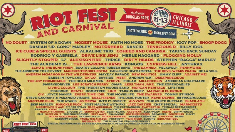 Illustration for article titled Second wave of Riot Fest headliners includes System Of A Down and Weezer