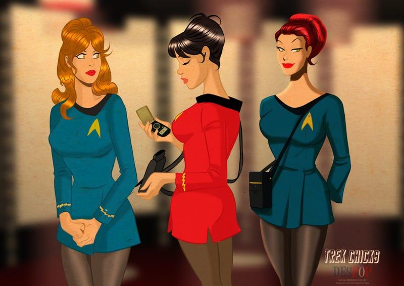 Illustration for article titled Sci-Fi pin-ups smolder in original Star Trek uniforms