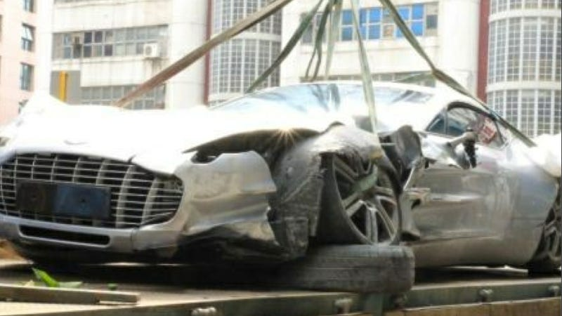 the first aston martin one-77 crash just happened in hong kong