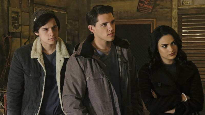 Cole Sprouse (left), Casey Cott, Camila Mendes (Photo: Bettina Strauss/The CW)