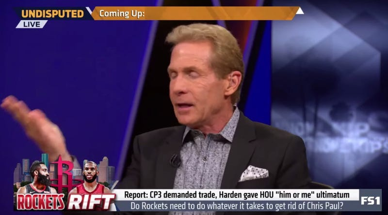 "Illustration for article titled Skip Bayless Falls For A Fake Woj Tweet About Chris Paul Mocking James Harden's ""Manboobs"""