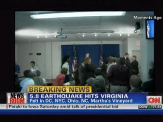 Illustration for article titled VIDEO: Quake Rattles DSK Press Conference