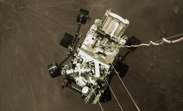 Exhilarating  Photo Shows Perseverance Rover Being Lowered to the Martian Surface