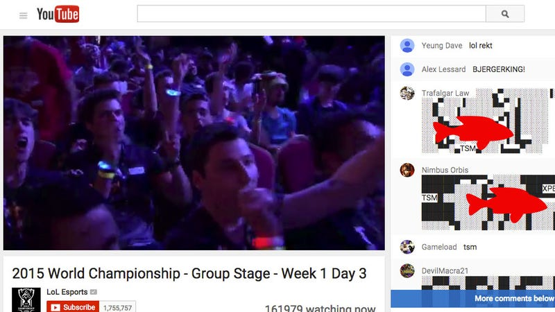 Illustration for article titled The League Of Legends World Championship's YouTube Chat Is Flooded With Dicks