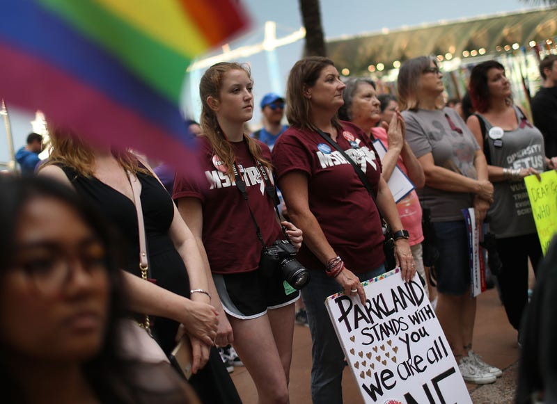 Survivors of both the Parkland, Fla., high school and Pulse-nightclub shootings rally in front of City Hall in Orlando, Fla., on June 11, 2018.
