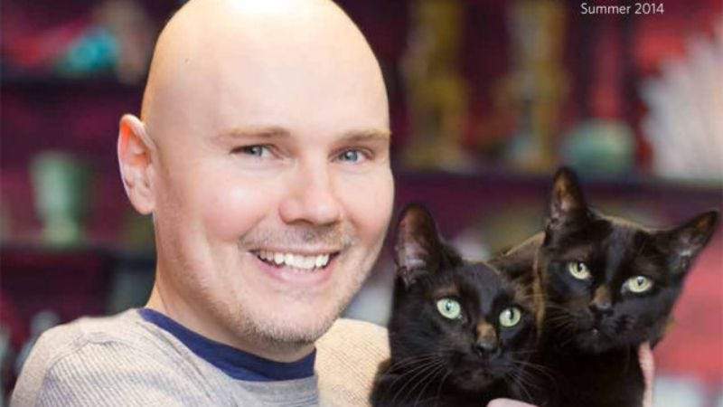 Billy Corgan, smiling politely.