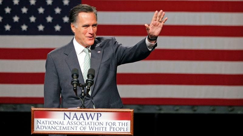 Illustration for article titled Romney Receives 20-Minute Standing Ovation At NAAWP Event