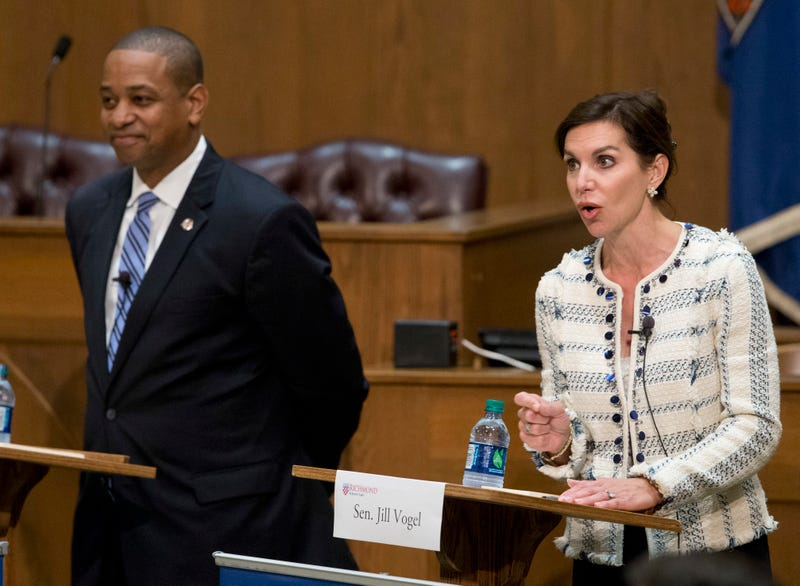 State Sen. Jill Vogel (right), Republican candidate for lieutenant governor of Virginia, gestures during a debate with Democratic candidate Justin Fairfax at the University of Richmond in Virginia on Oct. 5, 2017. (Steve Helber/AP Images)