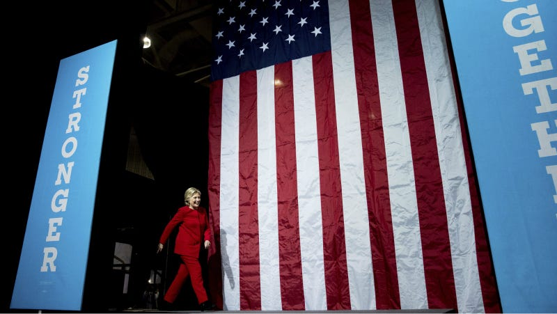Clinton arrives to speak at a rally at Grand Valley State University Fieldhouse in Allendale, Mich., Monday, Nov. 7, 2016. Photo via AP