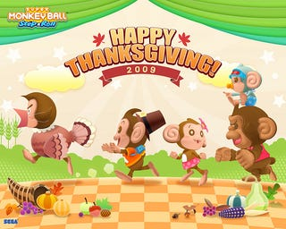 Illustration for article titled Super Monkey Ball Says Happy Thanksgiving