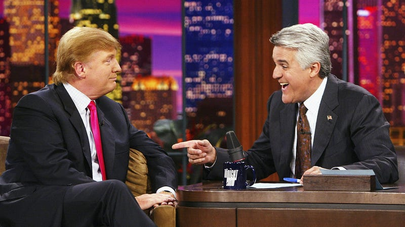 """Illustration for article titled Jay Leno misses when late night political comedy meant """"Clinton was horny and Bush was dumb"""""""