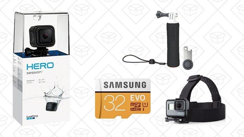 GoPro Session w/ GoPro Handler, Samsung 32GB SD Card, AmazonBasics Headstrap, $149