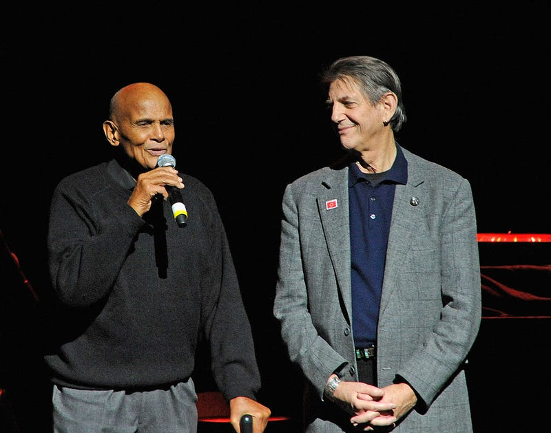 Harry Belafonte and Peter Coyote at the Bring Leonard Peltier Home 2012 Concert in New York City.Bobby Bank/WireImage