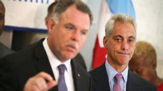 Chicago Police Superintendent Garry McCarthy and Mayor Rahm Emanuel at a press conference, Sept. 10, 2013, ChicagoScott Olson/Getty Images