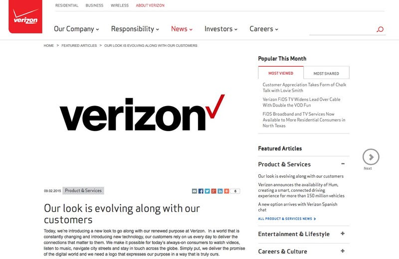 Illustration for article titled Verizon Introduces New Logo But Can't Be Bothered to Update Its Own Site With It