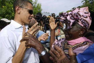 Obama and his Kenyan grandmother during a visit to his father's homeland.  (AFP/Getty Images)