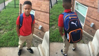 Dennis Roach posted pictures of his son, Kamarion (shown), as he set off for his first day of school in Chicago.Dennis Roach/Facebook via CNN