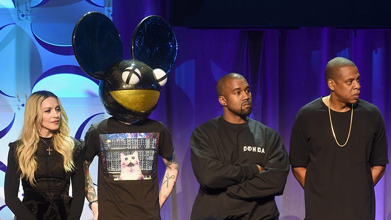 Madonna, Deadmau5, Kanye West and Jay Z stare inquisitively