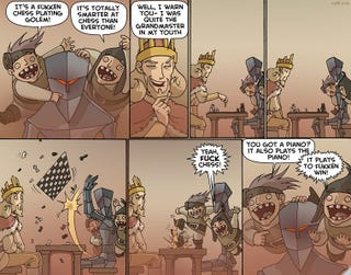 Illustration for article titled Oglaf shows us we don't need to fear the robot revolution...