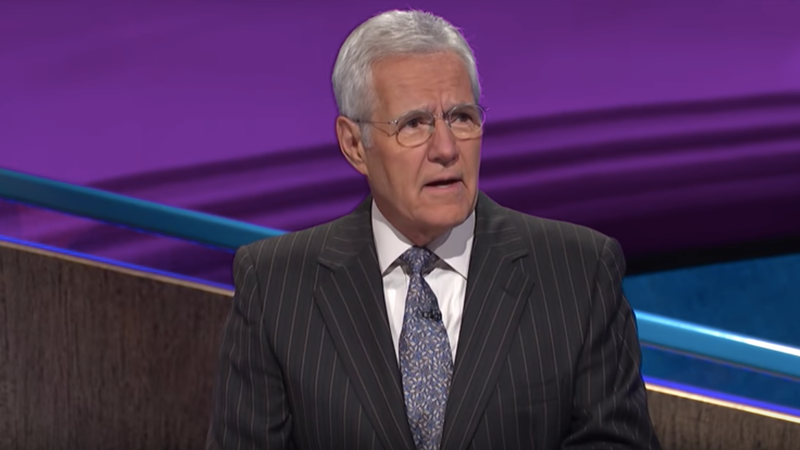 Trebek, about to dunk on some poindexters. (Screenshot: Jeopardy!)