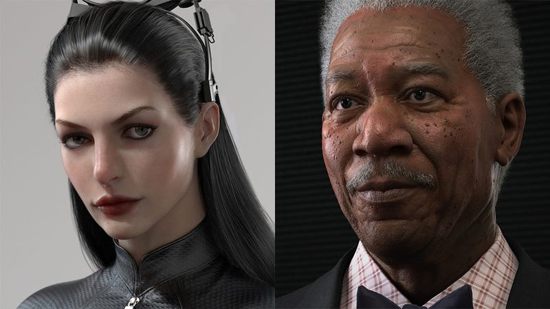 Illustration for article titled Batman's Morgan Freeman & Catwoman Look Almost as Good as 3D Models as They do in Real Life