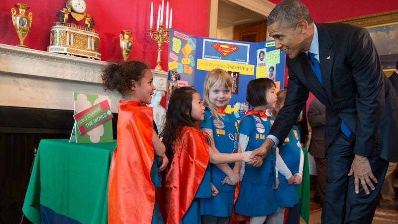 Illustration for article titled Watch Girl Scouts Steal Obama's Heart at the White House Science Fair