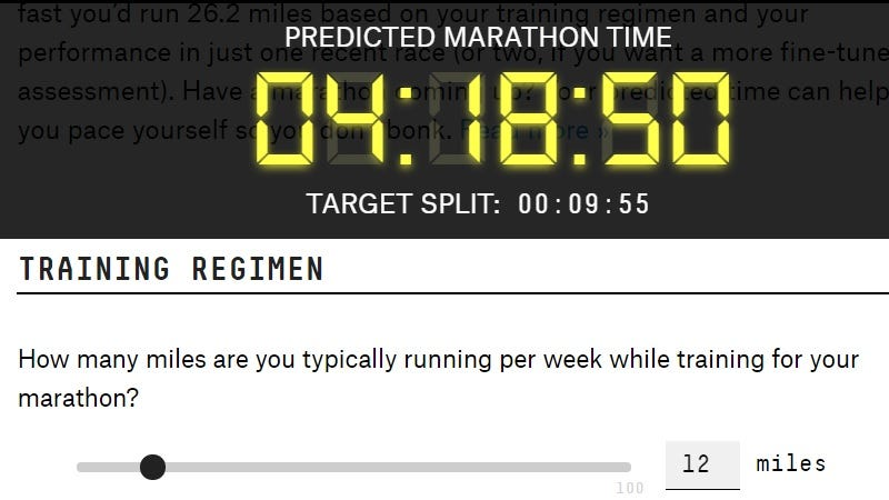Illustration for article titled See How Fast You Would Run a Marathon With This Calculator