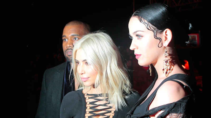 Illustration for article titled Kanye, Katy and Kim Wear All Black Everything at Paris Fashion Week