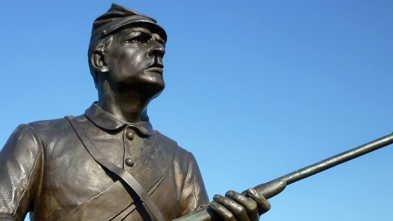 A statue of a Confederate soldier with a cleft palate.