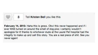 Illustration for article titled Kristen Bell Is Not Turned On by the Vet's Office, Guys