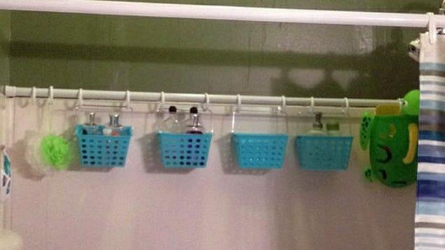 Bathroom hacks- Extra shower curtain rod to hold bath items