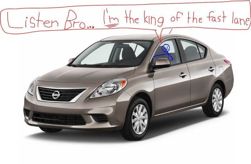Illustration for article titled Once upon a time, there was a sad man in a Nissan Versa.