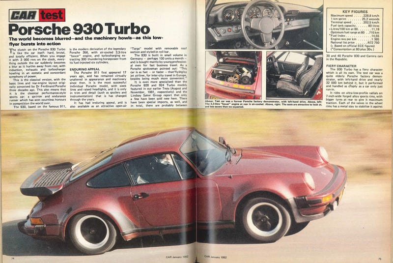 Illustration for article titled Porsche 930 road test, CAR, January 1982