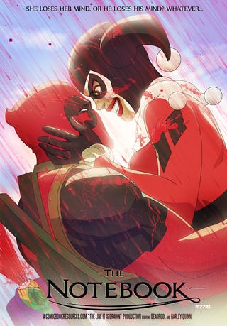 Illustration for article titled The Notebook, starring Deadpool and Harley Quinn