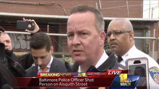 Baltimore Police Commissioner Kevin Davis speaks to the press after two of his police officers shot a 13-year-old boy who was carrying a toy gun April 27, 2016.WBAL-TV screenshot