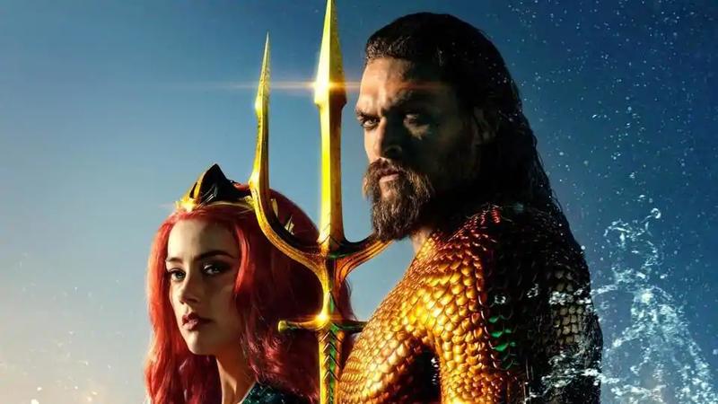 Jason Momoa and Amber Heard as Aquaman and Mera.