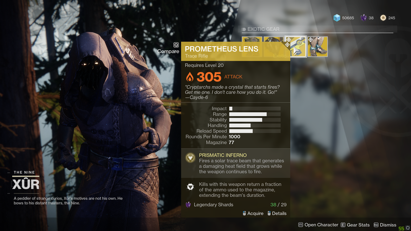Illustration for article titled LMFAO Xur Is Selling Prometheus Lens