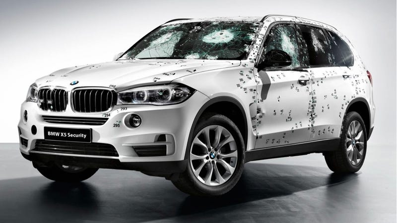 Illustration for article titled You Can Shoot This BMW X5 With An AK-47 And Drive It Away