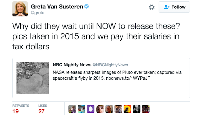 Illustration for article titled Greta Van Susteren Pissed That NASA Is So Lazy and Slow